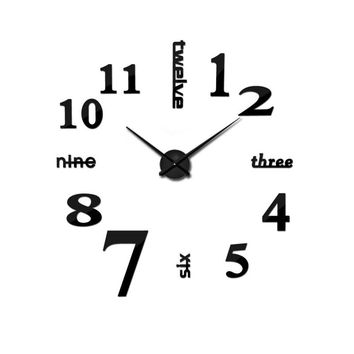 2017 Super Big DIY Wall Clock Acrylic+EVR+Metal Mirror Super Big Personalized Digital Watches Clocks Freeshipping 90x90 cm