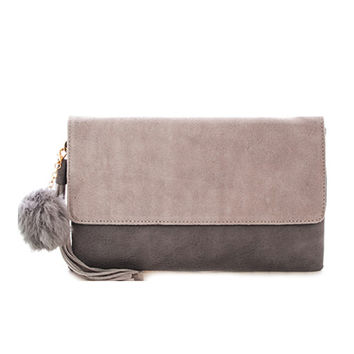 Leather and Suede Fold Over Clutch