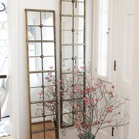 "Metal Framed Mirror w/ Panes 13.5""L x 65""H"
