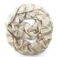 Striped Scarf Eternity Scarf Infinity Scarf Lightweight Scarf Cream Taupe Tube Scarf Pretty Women Scarf Gift Idea Ready to Ship