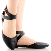 Tempo-01 D'Orsay Ankle Strap Ballet Flats