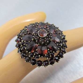 Antique Bohemian Garnet Ring, Victorian Rose Cut Garnet Cluster Ring, 800 Silver Vermeil, Antique 1800s Garnet Jewelry, January Birthstone