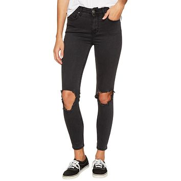 Free People High Rise Busted Skinny Carbon