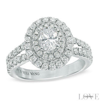 Vera Wang LOVE Collection 1-1/2 CT. T.W. Oval Diamond Frame Engagement Ring in 14K White Gold - View All Rings - Zales