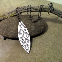 Abstract leaf necklace painted wood black and white