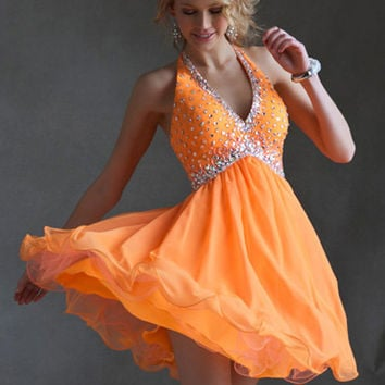 Sticks & Stones Mori Lee 9247 - Neon Orange Beaded Halter Homecoming Dresses Online