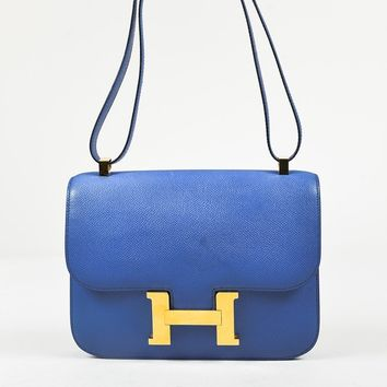 "VINTAGE Hermes Blue France ""Courcheval"" Leather ""Constance 24"" Shoulder Bag"