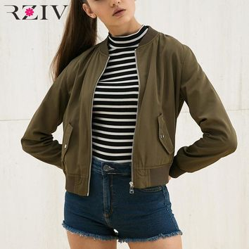 RZIV women bomber jacket and woman spring jacket 2016 casual coat 3 color womens jackets and coats
