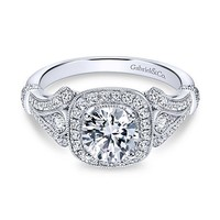 1.42cttw Vintage Style Halo Round Diamond Engagement Ring
