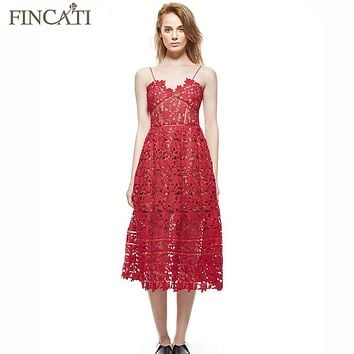 Summer Dresses 2017 Women's Sexy Spaghetti Strap Lace Mid-Calf Dress Crochet V Neck Backless Self Portrait SP Dress Vestidos
