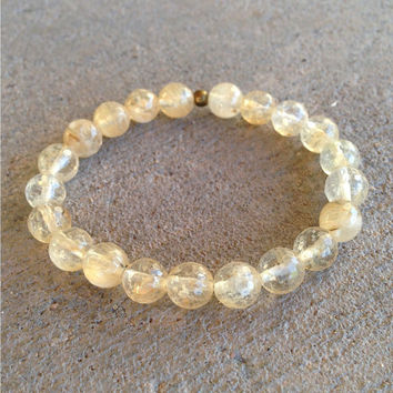 Creativity, genuine yellow quartz crystal mala bracelet