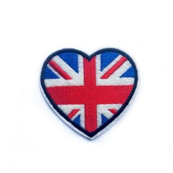 Heart Patch - UK Flag Patch Heart British Patch Iron on Patch Embroidery Patches UK Pride Patches - Embroidered Patch - Union Jack Patch