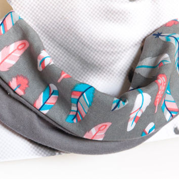 Baby drool scarf bib. Baby scarf. Infinity scarf bib. 100% cotton. Baby, teen, adult. Grey, blue, pink, feathers
