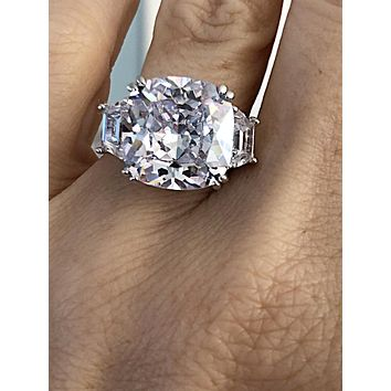A Perfect 6.5CT Cushion Cut Russian Lab Diamond Step Cut Trapezoid Ring