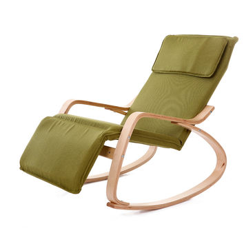 Modern Rocking Chair Fabric Cushion Natural Finish Adjustable Footrest Garden Furniture Comfortable Relax Lounge Chair Recliners