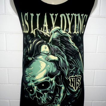 As I Lay Dying Skull  Rock Band Music Metal T Shirt Tank Top Singlet Vest Sleevless Size M