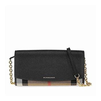 Burberry Women's House Check and Leather Wallet with Chain Black