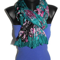 Multi Pattern Scarf -  Turquoise Floral Scarf - Polka Dot Scarf - Shawl with Stripes - Trendy Fabric Scarf - Spring Trends - Gift Idea