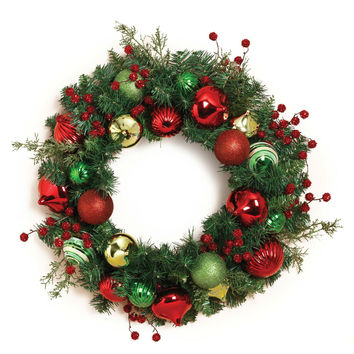24 In. Christmas Holiday Pine Ornament Wreath