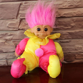 Vintage Russ Troll Doll Clown Soft Body, With Original Tag, Collectible Troll, Scandinavian Troll, Home Decor
