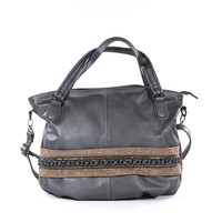 Large Gun Metal Gray Vegan Leather Bag Carryall Purse Slouch Large Satchel Tote