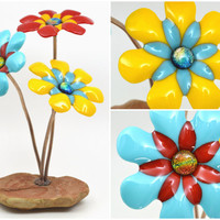 Art Glass Flower Sculpture / Fused Glass / Colorful Bright Daisies / Natural Rock Base / Copper Stems / Dichroic Glass - Happy Daisies