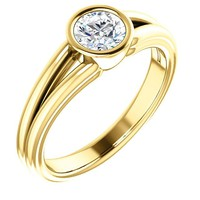 0.50 Ct Round Ring 14k Yellow Gold