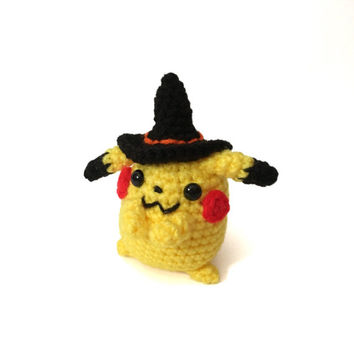 Halloween Toy Amigurumi Pikachu Inspired Doll Crochet Pikachu Plush Amigurumi Witch Stuffed Toy Kids Toy Halloween Gift Ideas