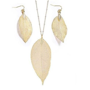 AUGUAU Women's Real Natural Filigree Leaf Long Pendant Necklace Trendy Bohemian Jewelry