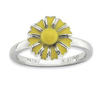 2.25mm Sterling Silver Stackable Enameled Daisy Ring