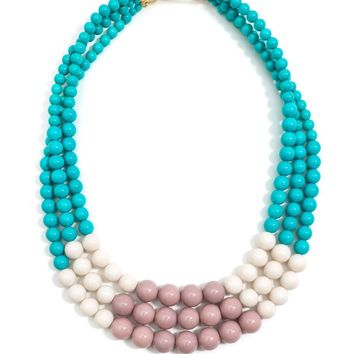 Color Splash Beaded Layered Necklace Beige