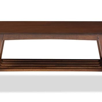 Baxton Studio Sacramento Mid-century Modern Scandinavian Style Dark Walnut Coffee Table  Set of 1