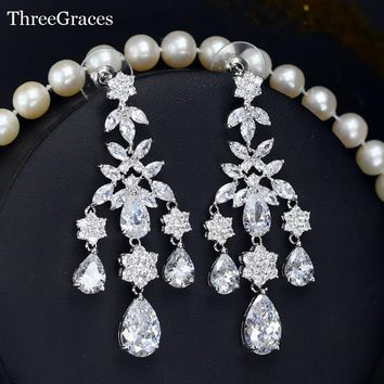 ThreeGraces Wedding Costume Jewelry Swiss Cubic Zirconia Long Chandelier Bohemian Style Bridal Earrings For Brides ER212