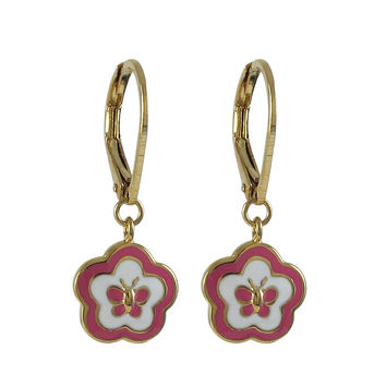 Hot Pink And White Enamel Flower/Butterfly -Gold Plated Brass Lever Back Earrings-26m