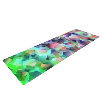 "Gabriela Fuente ""Bubbles"" Purple Green Yoga Mat"