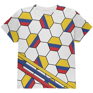World Cup Colombia Soccer Ball All Over Youth T Shirt