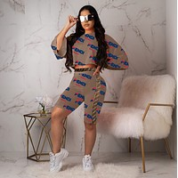 FENDI New Fashion Women Personality Print Long Sleeve Top Shorts Set Two-Piece Coffee
