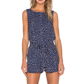 Lucy Paris Lillie Low Back Romper in Navy