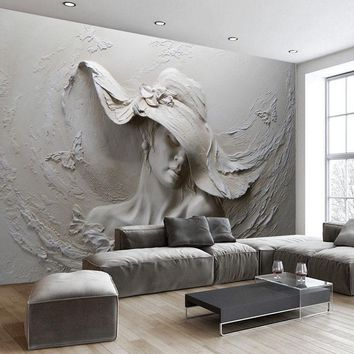 Custom Wallpaper 3D Stereoscopic Embossed Gray Beauty Oil Painting Modern Abstract Art Wall Mural Living Room Bedroom Wallpaper
