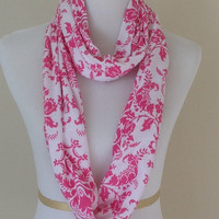 Pink damask Infinity scarf, pink Infinity scarf, infinity scarf, monogrammed gift