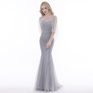 New Arrivals Evening Dresses Luxury Grey Illusion Beaded Backless Mermaid Floor Length Formal Dress Party Gowns