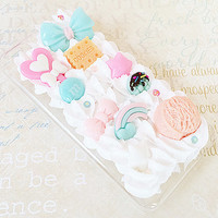 Clear iPhone 5C Case - Decoden Hard Phone Case - Kawaii Sweets Deco - Pastel, Lollipop Heart Candy, Mint Bow - Whipped Cream - Snap On Case