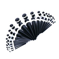 BodyJ4You Gauges Kit Black Acrylic Tapers Plugs White O-Rings 14G-00G Ear Stretching Body Jewelry 36 Pieces