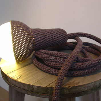 Lampe 1, pendant light and 4,5 meter cord, crocheted in dark grey