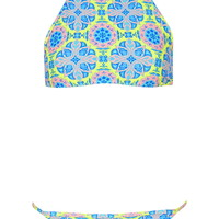 Tile Print High Neck Bikini Set - Topshop