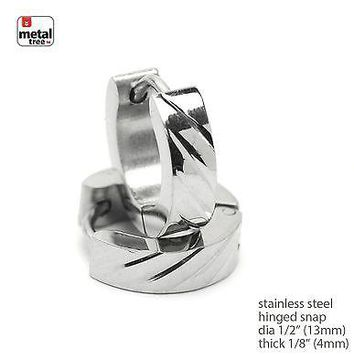 Jewelry Kay style Mens Women 2pc Punk Stainless Steel Huggie Hoop Hinged Snap Earrings SSHE 027 S