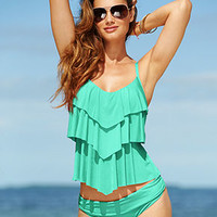 Kenneth Cole Reaction Tiered Ruffle Tankini Top & Hipster Bikini Bottom