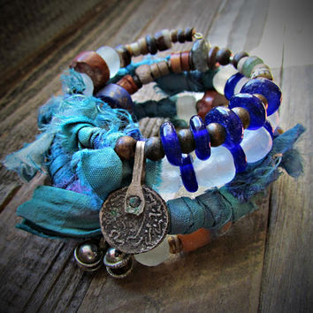 DHYANA*Meditation*~ARTISAN Four Coil Gypsy Boho Wrap BRACELET~Blues Silk Sari~African Coin Charms~Ethnic~Unique~Earthy~Rustic~Mdogstudios~