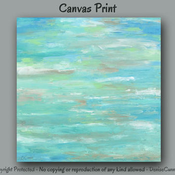 Teal green & blue abstract canvas print, Large wall art, Teal home decor, Office, Teal wall decor, Mint green decor, Contemporary artwork