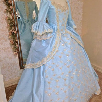 Victorian Gown Marie Antoinette Sparkle Lace and Trim Your Size/color Custom